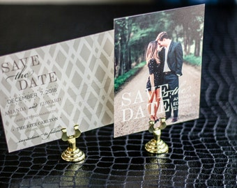 "Sage Green and Cream, Save the Date Card, Elegant Wedding Announcement, Formal - ""Classic Elegance"" Save the Date Photo Postcard - DEPOSIT"