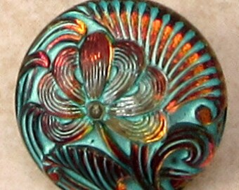 Czech Glass Flower Button, Turquoise Vitrail, 18mm, With Pendant Converter C564