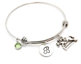 Jumping Horse Initial Birthstone Hand Stamped Bangle, Equestrian Bracelet, Dressage Bangle with Jumping Horse Charm and Swarovski Birthstone
