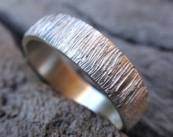tree bark wedding band ring sterling silver wood grain textured wedding ring for men and women - 5mm - handmade jewelry  made to order