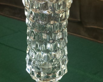 "Large Vintage Pressed Glass Vase 9 3/4"" Tall, Diamond-Shaped"