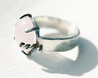 Rose quartz and Silver one-of-a-kind ancient style ring