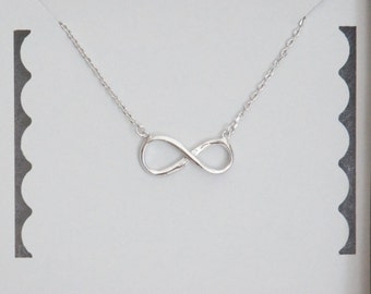 Infinity Necklace, Figure 8 Necklace, Sterling Silver, Dainty Necklace, Bridesmaid Gift, Birthday Gift, Mother's Day Gift