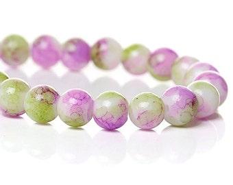 Glass Beads 6mm Violet & Apple Green - 1 Strand - BD514