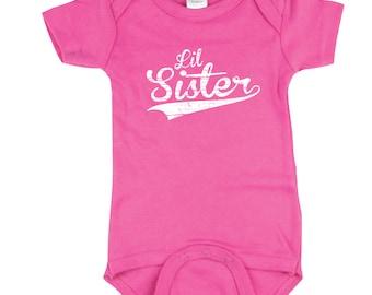 Little Sister Shirt - Pink Little Sisters Baseball shirt - Sisters sibling shirt, BBSib