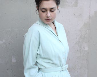 Vintage 1950's Dress // 50s Pale Robins Egg Blue Wool Dress with Buttons // Cozy Soft Wool Collared Shirt Dress with Belt