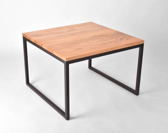 Oak Wood Coffee Table on Steel Base // Handmade and Industrial // Studio Cerise - Contemporary and Luxury Furniture