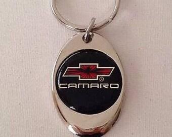 Chevrolet Camaro Keychain Chrome Plated Solid Metal Key Chain