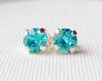 Aqua blue rhinestone stud earrings / 6mm / Swarovski / surgical steel / bridesmaid / girlfriend gift / gift for her / blue topaz / turquoise