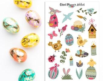 Pâques à la scandinave 2018 Planner Stickers | Autocollants de Pâques | Stickers lapins | Oeufs de Pâques | Stickers scandinaves (S-308)
