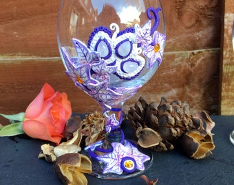 Purple frosted Moonstone Ivy Ritual Chalice/Goblet/Glass