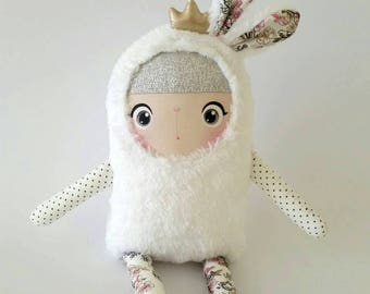 Bunny Doll Princess Lilibeth/ Soft Doll Bunny/ Stuffed Bunny/ White Bunny/ Princess Doll