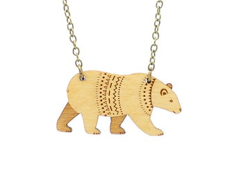 Bear necklace ~ woodland laser cut necklace