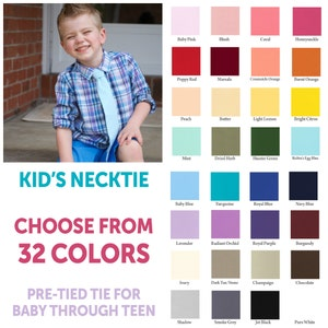 Choose your own necktie, boy's necktie, pre-tied tie, boy's tie, kid's tie, baby tie, toddler tie, pink tie, green tie, red tie, ring bearer