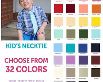 Choose your own necktie, boy's necktie, pre-tied tie, boy's tie, kid's tie, baby tie, toddler tie, pink tie, green tie, red tie, ring bearer
