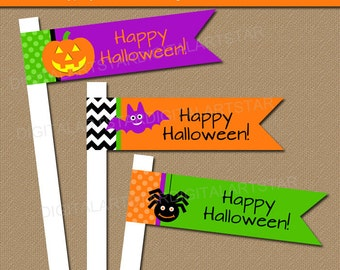 Halloween Straw Flags, Printable Halloween Cupcake Picks, Halloween Cupcake Flags, Kids Halloween Party Decoration, Halloween Cupcake Topper