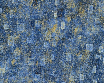 Robert Kaufman Gustav Klimt Blue Cobalt Gold Yellow Cotton Square Gilded Fabric BTY SRKM-17181-4