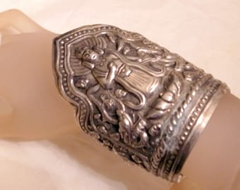 Vintage Chinese Silver Bracelet - Over 2.5 Oz Sterling Silver - Emperor Bracelet - 4 INCHES Tall