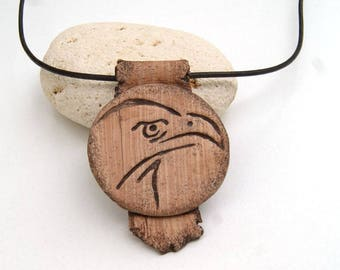 Jewelry for men - headed eagle - polymer clay pendant - imitation wood - gift for man