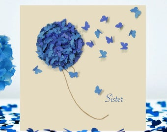 Sister Blue Hydrangea Butterfly Card, Sister Flower card, Sister Birthday Card, Sister Thinking Of You Card, Sister Just For You card