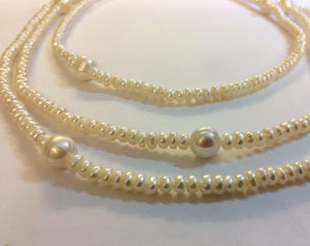 Long White Pearl necklace, Pearl necklace, Pearl