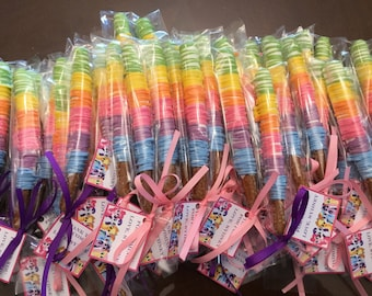 Neon Rainbow Drizzled over White Dipped Chocolate Covered Pretzel Rods