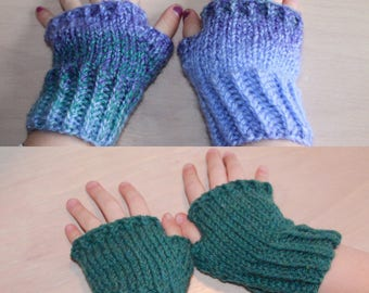 knit fingerless gloves for child