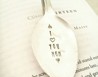 I Love You Mom Bookmark, Vintage Spoon Bookmark, Gift for Mom, Gift for Mother, Ready to Ship