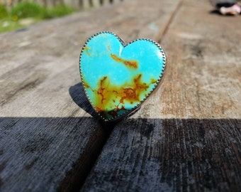 Kingman Turquoise Heart Ring Sterling Silver US size 8