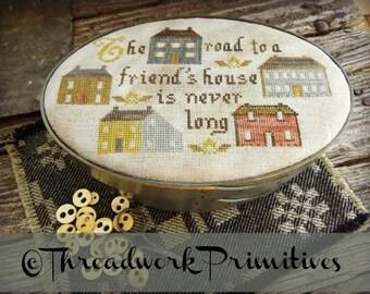 Primitive Cross Stitch Pattern - The Road