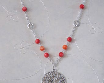 Tree necklace red and orange beads
