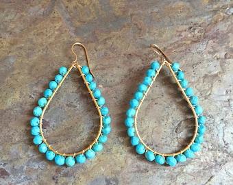 Turquoise gemstone gold hoop earrings