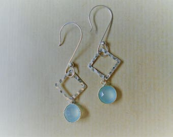 Chalcedony and sterling silver earrings / / round and square