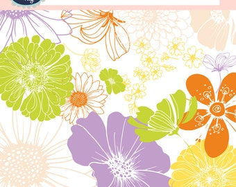 Clipart flowers FLORAL CLIPART hand drawn flowers, digital graphics, flower paper, floral flowers design, digital image, digital clip art