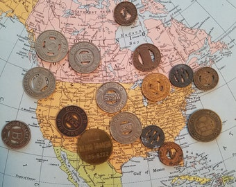 bus fare - transit tokens - lot  od 16, mixed sizes and cities - fun for collecting or crafting
