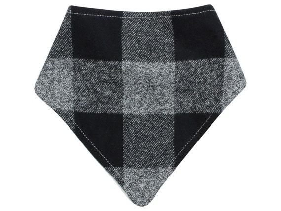 Black Buffalo Plaid Bibdana Buffalo Check Baby Bib Boy Drool Lumberjack Bib Black Gray Bibdana Boy Bib Organic Bamboo Baby Terry Fall Bib