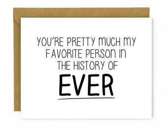 Anniversary Card for Husband, Boyfriend Wife or Girlfriend / Cute Anniversary Card / Sweet Birthday Card for Husband - Favorite Person Ever
