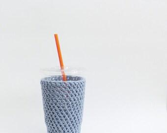 Denim iced coffee cozy. Crochet coffee cozy. light blue cup cozy. Cotton cup sleeve. Eco friendly cup jacket. Summer drink cozy drink cozy
