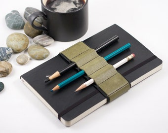 Journal Bandolier // olive leather // (a better pencil case, journal pen holder, book strap, pen loop, pencil roll, pen bandolier)
