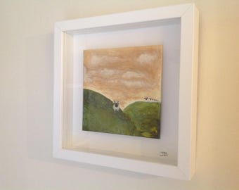 "Follow me - Sheep artwork ""original"" mounted within boxed frame"