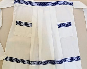 Dutch Girl Style Blue and White Vintage Apron 1960's Half Skirt