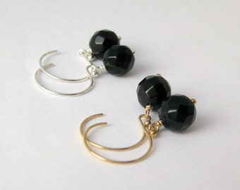 Faceted Onyx Dangle Earrings