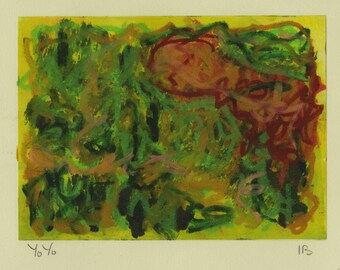 Yo Yo -  mixed media - oil pastel over monoprint in greens, reds and ochre