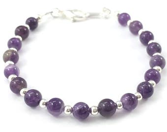 Mother's Day SALE! - Amethyst and Silver Bracelet, Amethyst Bracelet, Gemstone Bracelet, February Birthstone