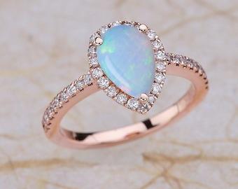 Opal Engagement Ring Rose Gold, Opal Teardrop Ring Rose Gold, Opal Rose Gold Ring, Opal Halo Engagement Ring, Rose Gold Opal Engagement Ring