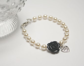Cream pearls and black rose bracelet with heart metal pendent