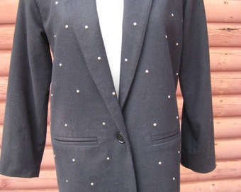 Awesome Vintage 1980s Long Black Wool Jacket with Faceted Silver Bead Details