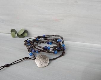 Knotted Leather Wrap Bracelet. Blue Stone Bracelet. Fairy Lace Bracelet. Handmade Summer Jewelry. Boho Bracelet. Hipster Jewelry. Beach