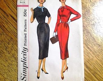 "VINTAGE 1950s Basic Sheath Dress w/ Elegant Details (Mid Century Modern) - Size 16 (Bust 36"") - UNCUT Vintage Sewing Pattern Simplicity 2261"
