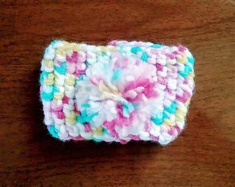 Candy Pom-Pom Drink Cozy - Handmade, Crocheted, Coffee Sleeve